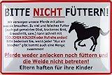 Blechschild 20x30cm gewölbt Bitte Nicht füttern Warnschild Pferde Hinweis Deko Geschenk Schild