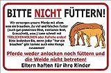 AdriLeo Schild - Pferde Nicht füttern - Weide betreten verboten (20x30cm)