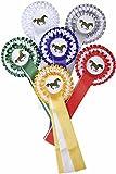 HKM 6249 Turnierschleife Dreifachrosette Siegerschleife Wettkampfschleife 3-Fach, Rot/Weiß