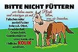 Schatzmix Blechschild Spruch Bitte Nicht füttern! Pferd Warnschild Metallschild Wanddeko 20x30 tin...