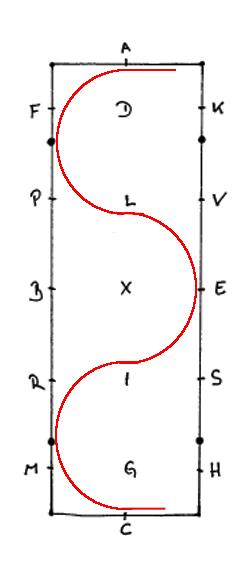Die Schlangenlinie mit 6 Bögen im 60er Viereck
