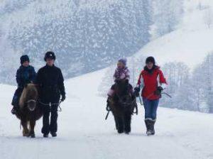 Zwei Erwachsene fuehren Kinder auf Ponys (Foto: Michael Leibrecht)